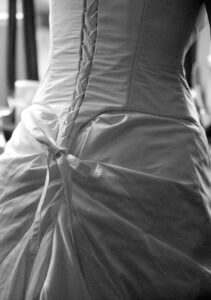 back bustle on silk taffeta wedding dress