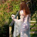 gold lace and blush pink wedding dress