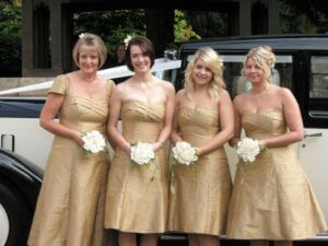 gold silk dupion bridesmaids dresses