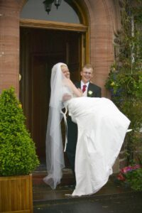 taffeta wedding dress with long train